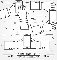 Set of hands holding mobile phonethin line icon vector