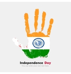 Handprint with the flag of india in grunge style vector