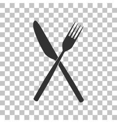 Fork and knife sign dark gray icon on transparent vector