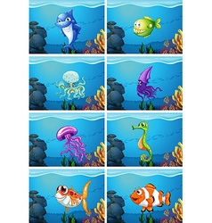 Underwater scenes with sea animals vector image