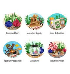 aquarium compositions set vector image vector image