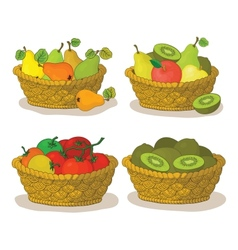 Baskets with fruits and vegetables vector
