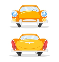 Cartoon style of vintage old yellow car back and vector