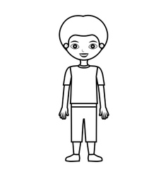 Child silhouette with t-shirt and shorts vector