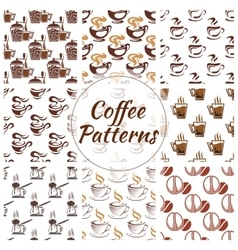 Coffee seamless pattern of beans cups icons vector