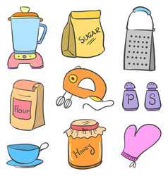 doodle of kitchen equipment colorful style vector image