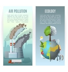 Environmental pollution vertical banners vector