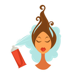 female face with raised hair and bottle spraying vector image