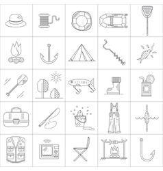 Fishing line icons vector