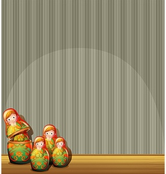 Four russian dolls at the stage vector