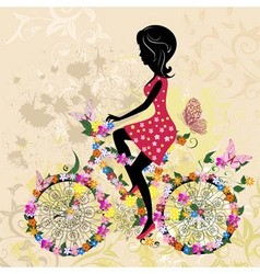 girl on bike grunge vector image vector image