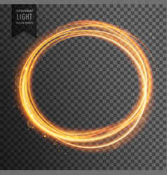 Gold circle light effect on transparent background vector
