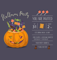Halloween party invitation with scary pumpkin vector