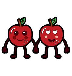 kawaii two cartoon fruit apple holding hands vector image