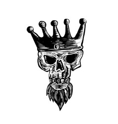 King beard skull scratchboard vector
