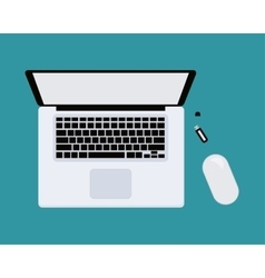 Laptop with mouse top view isolated on blue vector image vector image