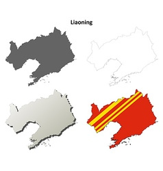 Liaoning blank outline map set vector