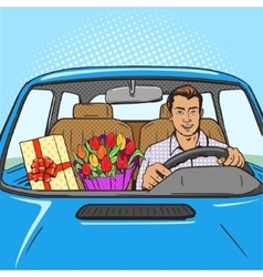 Man with gift flowers in car pop art style vector