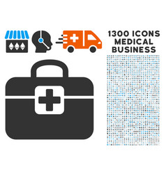 medkit icon with 1300 medical business icons vector image vector image