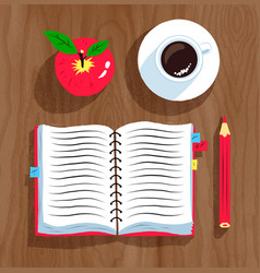 Notebook apple and cup of coffee vector