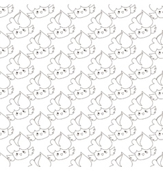 Outline cupcakes seamless pattern kawaii vector
