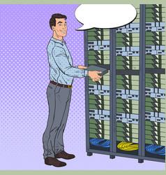 pop art network engineer working in data center vector image