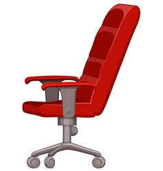Red computer chair with wheels vector