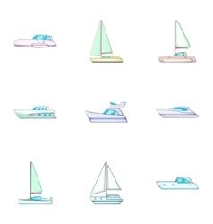 Sail boat icons set cartoon style vector