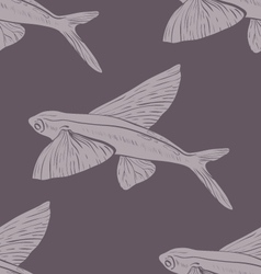 Seamless pattern Flying Fish in violet vector image vector image