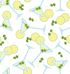 Seamless pattern with a glass of martini with vector image vector image