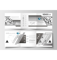 Set of business templates for tri-fold square vector