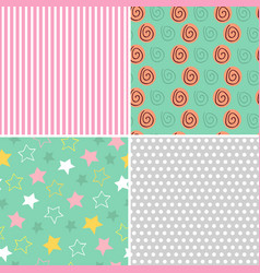 set of isolated seamless pattern baby abstract vector image vector image