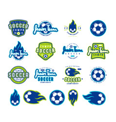set of soccer emblems and icons vector image vector image