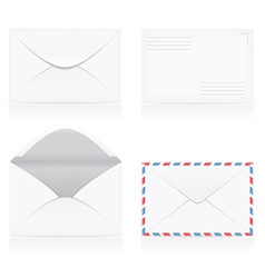 set of white blank envelopes 01 vector image