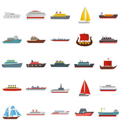 ship and boats icons set flat style vector image