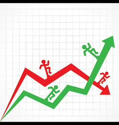 Up and Down business graph with running man vector image