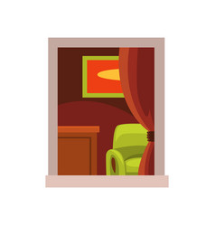 View on room interior from the street green vector