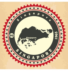Vintage label-sticker cards of singapore vector