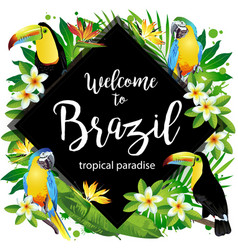 welcome to brazil rhombus vector image vector image