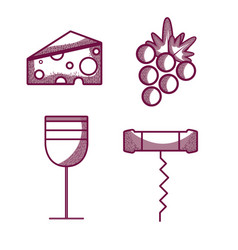 Wine glass with cheese grape and corkscrew vector