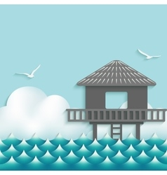 Bungalow over waves on sky background with vector