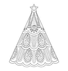 Zentangle christmas tree ornamental hand drawn for vector