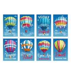 Posters or cards hot air balloon trip tour vector