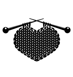 Silhouette of knitting heart vector