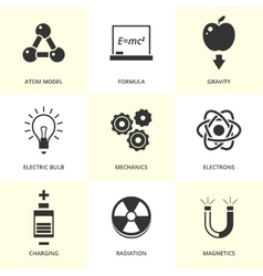 Set of black physics icons vector
