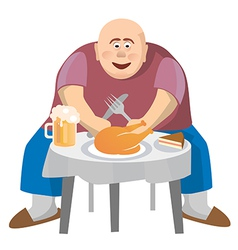 Fatman at a crowded table vector