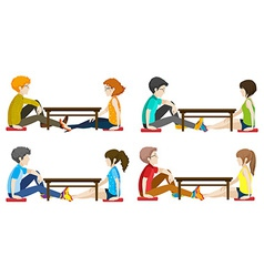 Faceless people sitting across each other vector