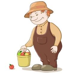 gardener with apples vector image