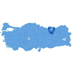 Map of turkey gumushane vector