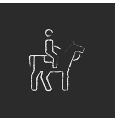 Horse riding icon drawn in chalk vector